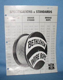 Bethlehem Wire Rope Specifications and Standards for Zinc-Coated Wire, Bridge Strand and Bridge Rope