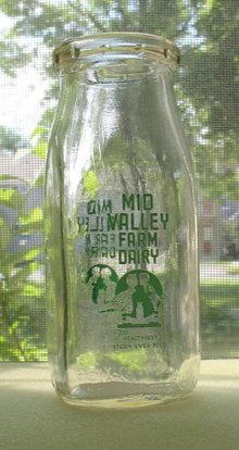 Mid Valley Farm Dairy half pint green pyro milk bottle