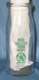 Mid Valley Farm Dairy half pint green pyro milk bottle