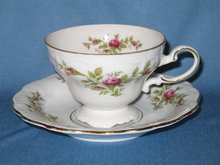 Johann Haviland, Bavaria Germany Moss Rose cup and saucer