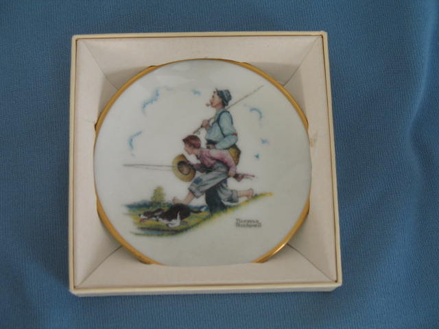 Norman Rockwell Four Seasons Miniature Plate #501: Goin' Fishin'