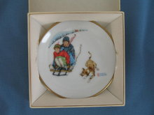 Norman Rockwell Four Seasons Miniature Plate #507: Downhill Daring