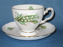 Royal Tuscan Birthday Flowers, May, Lily of the Valley cup and saucer