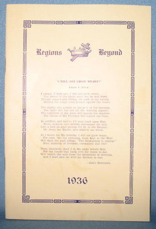 Regions Beyond 1936, 52nd Annual Report of the Board of Foreign Missions of the Mennonite Brethren in Christ (Pennsylvania Conference)