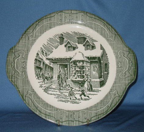 Old Curiosity Shop green handled cake plate by Royal