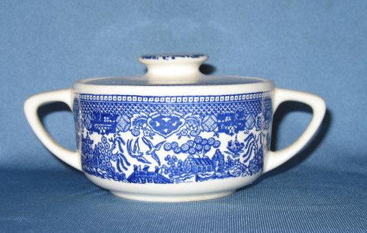 Royal China Willow Ware lidded sugar