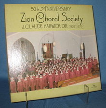 50th Anniversary Zion Choral Society 33 RPM LP