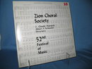 52nd Festival of Music  Zion Choral Society 33 RPM LP