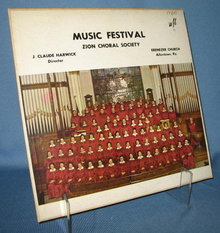 1960 Music Festival  Zion Choral Society 33 RPM LP