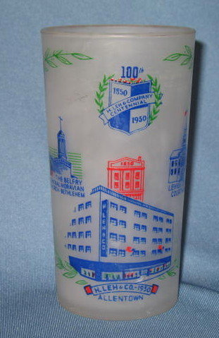 H. Leh and Compnay, Allentown PA 100th Anniversary commemorative tumbler
