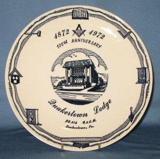1972 100th Anniversary Quakertown Lodge No. 512 F. & A.M., Quakertown PA collector's plate