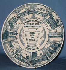 1973 59th Annual Bucks County Fireman's Ass'n Covention and Parade, Doylestown PA collector's plate