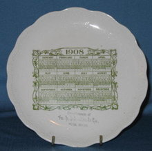 1908 calendar plate Compliments of H. S. Schultz & Co. Music House (location unknown)