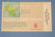 Jeddo-Highland anthracite coal ink blotter stamped K & L Co., Quakertown PA