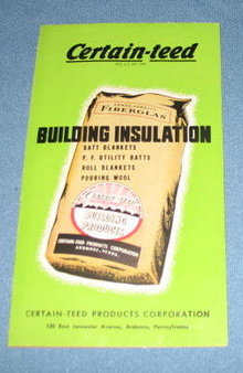 Certain-Teed Building Insulation brochure back-stamped K & L Co., Quakertown PA