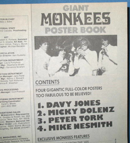 Giant Monkees Poster Book featuring 4 gigantic posters