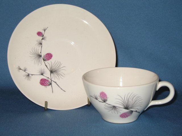 Canonsburg Pottery Wild Clover cup and saucer