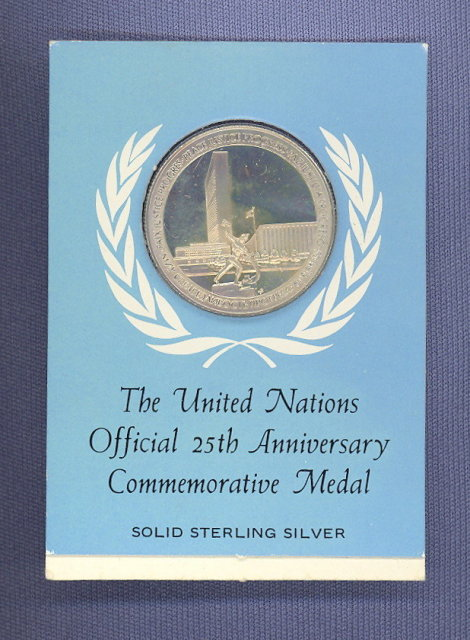 United Nations Official 25th Anniversary solid sterling silver Commemorative Medal