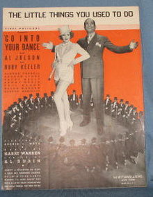 The Little Things You Used to Do sheet music featuring Al Jolson and Ruby Keeler