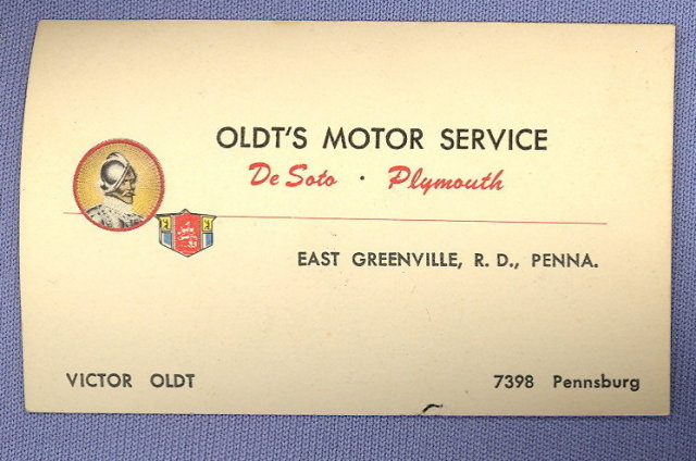 Oldt's Motor Service - De Soto and Plymouth - East Greenville PA business card
