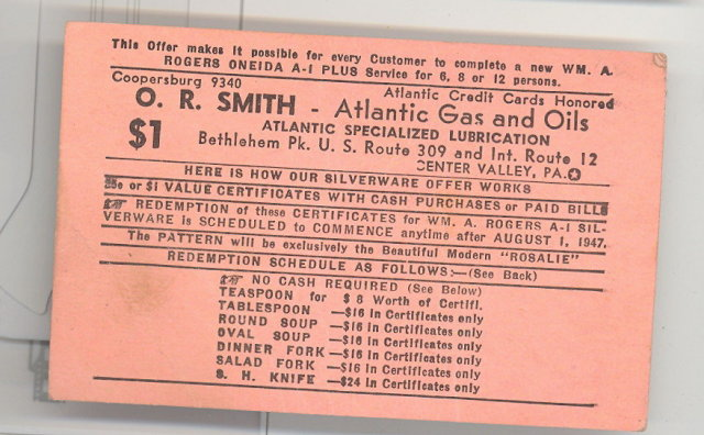 O. R. Smith Atlantic Gas and Oils, Center Valley PA premium card