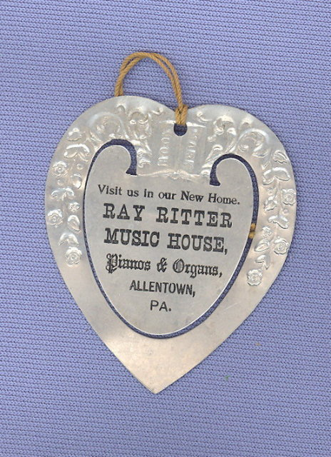 Ray Ritter Music House, Allentown PA aluminum advertising bookmark