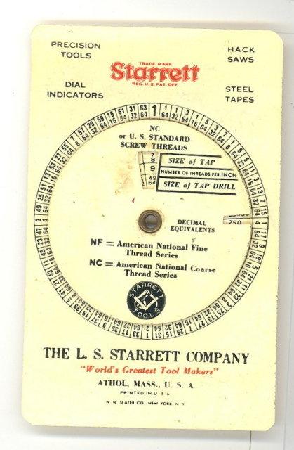 Starrett Tap size pocket chart