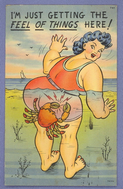 Sea shore comic postcard