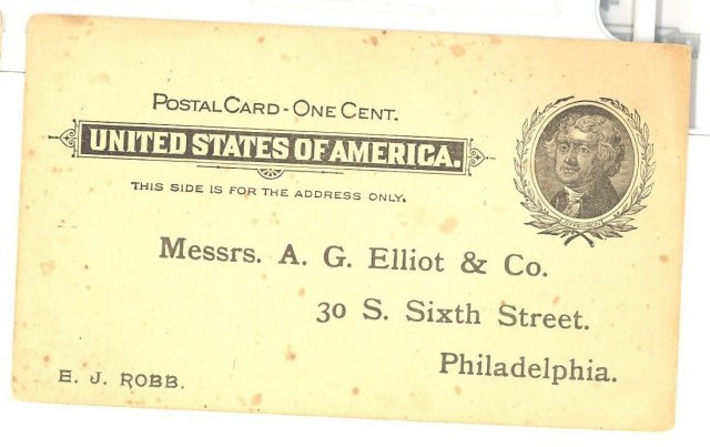 1890s Business postcard from A. G. Elliot & Co. Philadelphia PA