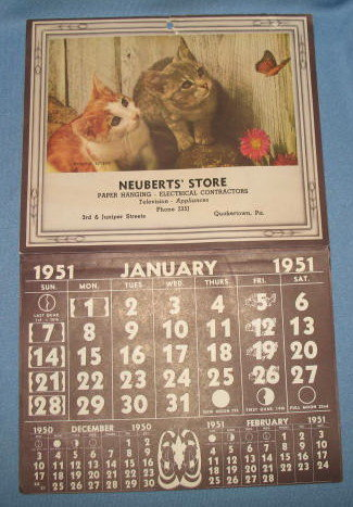 1951 Neuberts' Store, Quakertown PA wall calendar