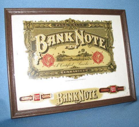 Bank Note Cigar label and 2 bands framed