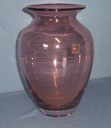 Blenko handmade purple glass vase