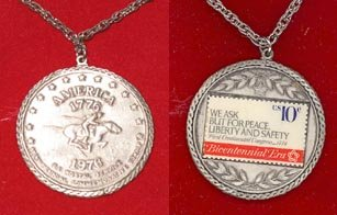 Smart Americana Collection Bicentennial Stamp Pendant featuring a ten cent stamp