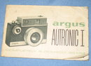 Argus Autronic I 35 mm camera instruction booklet