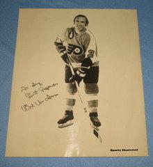 Autographed photo of Philadelphia Flyers' Ed Van Impe