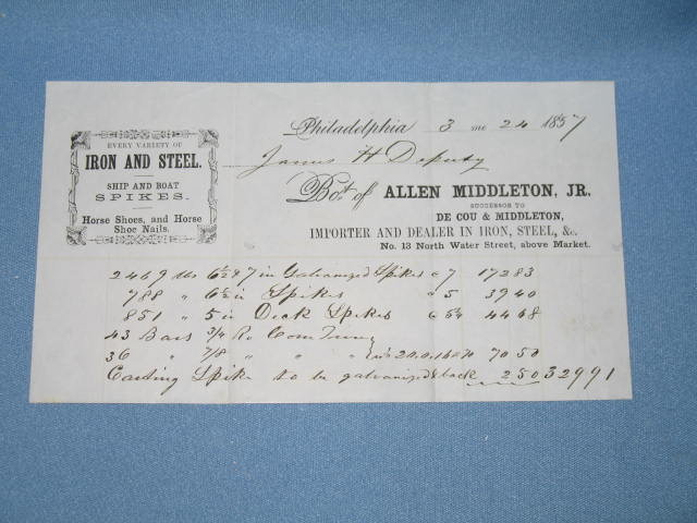 Billhead from Allen Middleton, Jr. Iron and Steel, No. 13 North Walter Street,  Philadelphia
