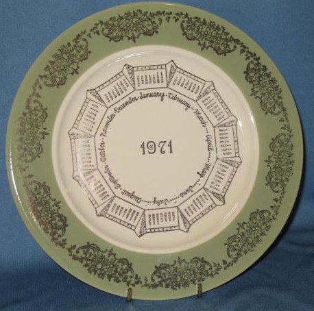 1971 calendar plate