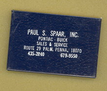 Paul S. Spaar, Inc. Pontiac - Buick, Palm PA pocket mirror