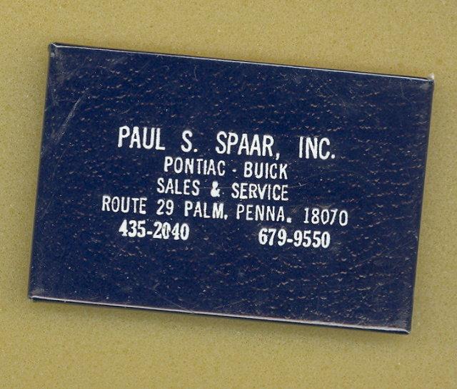 Paul S. Spaar, Inc. Pontiac - Buick, Palm PA pocket mirror