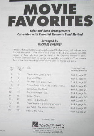 Percussion Movie Favorites Music Book : Solo and Band Arrangements