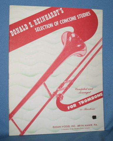 Donald S. Reinhardt's Selection of Concone Studies for Trombone or Baritone