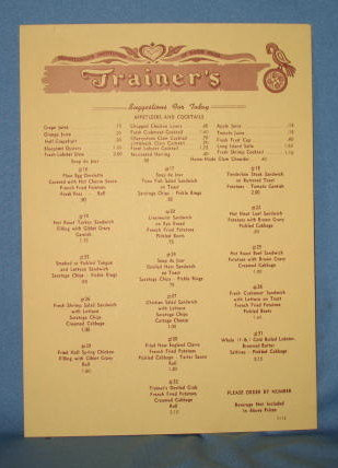Trainer's Restaurant, Quakertown PA, daily breakfast/lunch menu