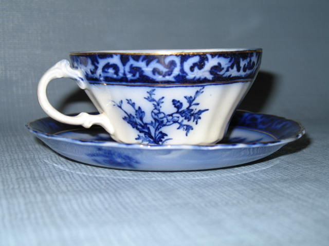 Stanley Pottery Co. England Touraine flow blue cup and saucer