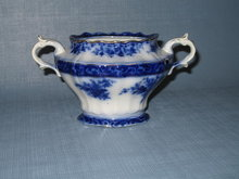 Stanley Pottery Co. England Touraine flow blue sugar bowl without lid