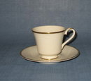 Royal Doulton Heather (gold trim, albion shape) footed cup and saucer