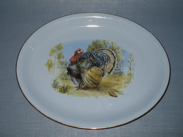 Homer Laughlin Skytone blue oval turkey platter