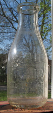 Puritan Dairy Perth Amboy NJ embossed quart milk bottle
