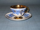Rosina gold grape clusters with blue leaves cup and saucer