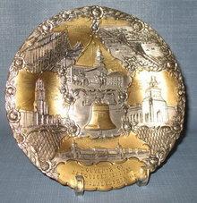 Philadelphia Sesquicentennial metal souvenir plate