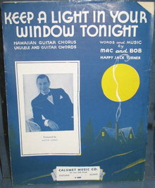 Keep a Light in Your Window Tonight sheet music with ukelele and guitar  chords and  Hawaiian Guitar chorus